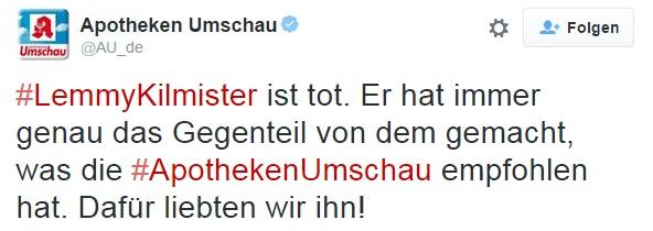 Tweet der Apotheken Umschau